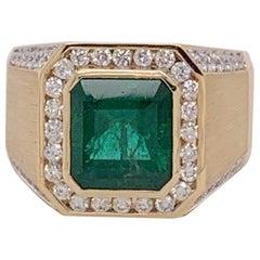 Natural 5.14 Carat Emerald Men's Ring Set in 14 Karat Gold