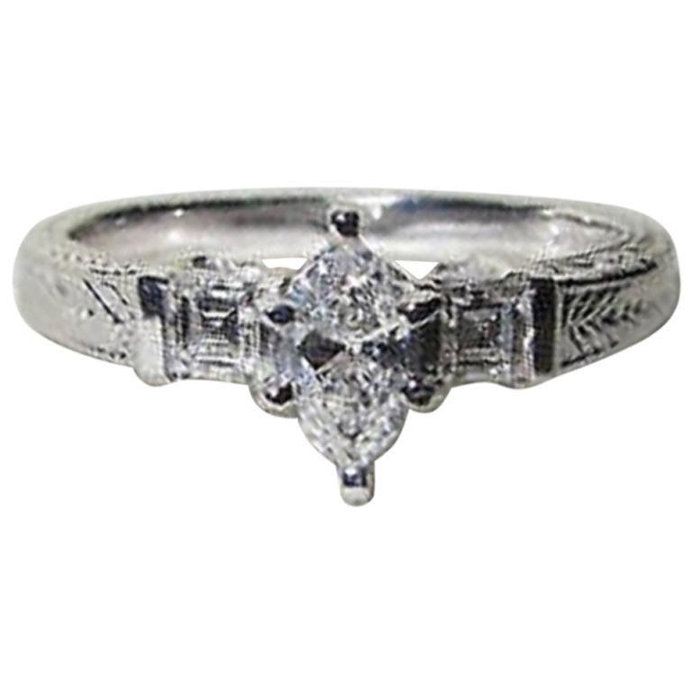 072dfe1a251e2 Natural .56 Carat Marquise & Ascher Cut Diamond Ring