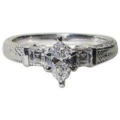 Natural .56 Carat Marquise & Ascher Cut Diamond Ring