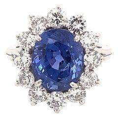 Natural 7.08 Carat Blue Ceylon Sapphire Diamond Halo Ring in Platinum