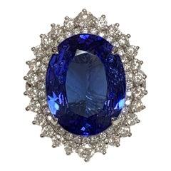 Natural 7.23 Carat Tanzanite Diamonds Ring