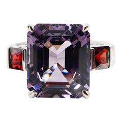 Natural 7.77 Cts Purple Spinel & 0.83 Carat Red Spinel Three-Stone Cocktail Ring
