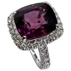 Certified Natural 9.18 Carat Vivid Purple No Heat Spinel & Diamond Cocktail Ring