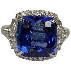 Natural 9.42 Carat Tanzanite 0.58 Carat Diamond Ring