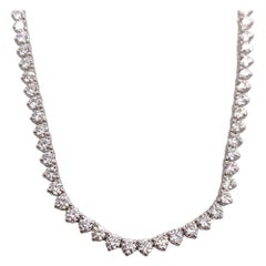 Natural 9.50 Carat Colorless Round Brilliant Diamond Necklace 18k Gold E VVS