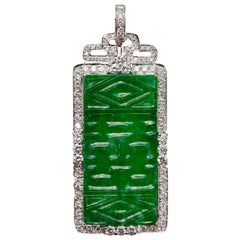 Natural Green Jadeite Jade Carving Pendant with Diamonds in 18 Karat Gold