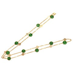 Natural A Jadeite Yellow Gold Chain Necklace
