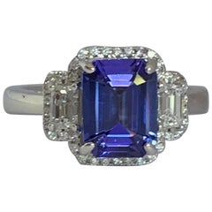 Natural AAA Quality Tanzanite and Diamond Ring