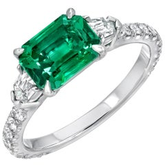 Natural Afghani No Oil Emerald Diamond Platinum Ring AGL Certified 1.47 Carat