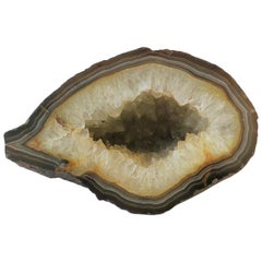 Natural Agate Geode White and Brown Scuplture
