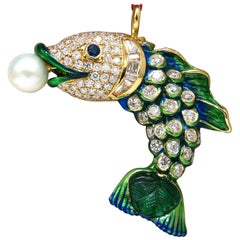 Natural Akoya Pearl Sapphire Emerald and Diamonds Enamel Fish Pendant 18 Karat