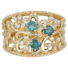 Natural Alexandrite White Diamond Floral Cluster Wide Band Ring 18 Karat Gold