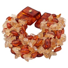 Natural Amber and Citrine Multistring Bracelet