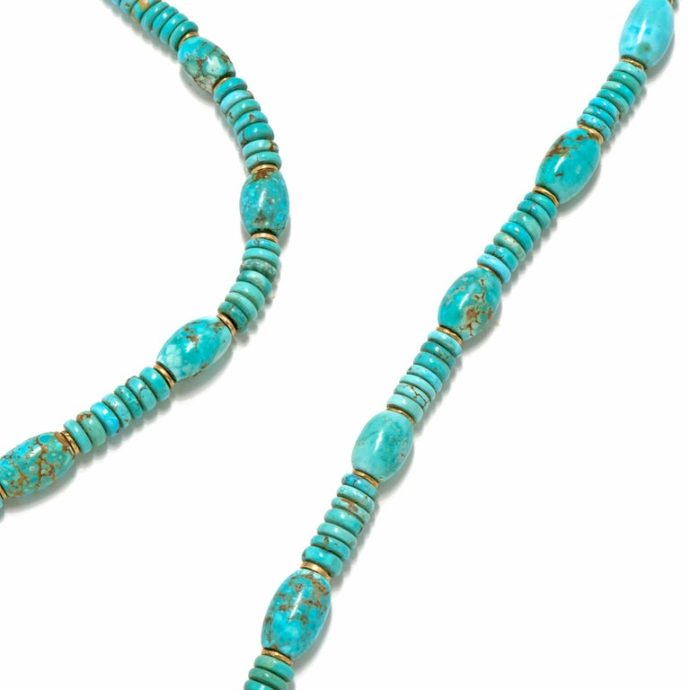 Contemporary Natural American Turquoise and 18 Karat Gold Bead Necklace For Sale