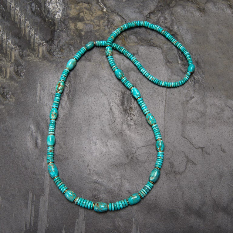 Natural American Turquoise and 18 Karat Gold Bead Necklace For Sale 1