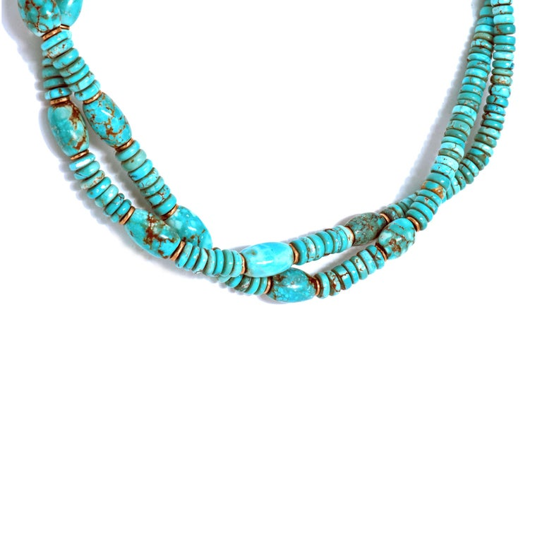 Natural American Turquoise and 18 Karat Gold Bead Necklace For Sale 2
