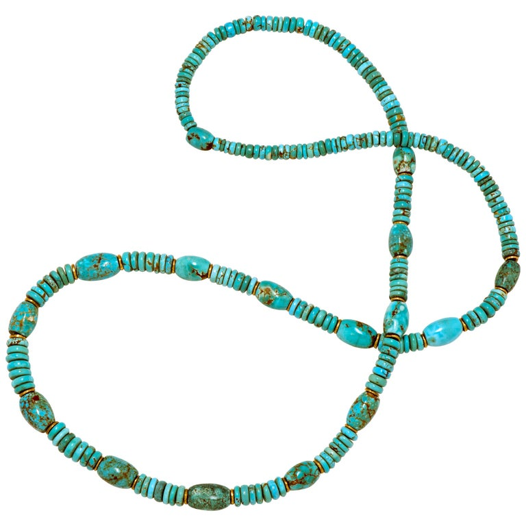 Natural American Turquoise and 18 Karat Gold Bead Necklace For Sale