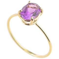 Natural Amethyst Faceted Oval Carat 18 Karat Yellow Gold Cocktail Ring