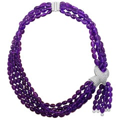Natural Amethyst Multi Layer Bead Necklace in Platinum with Diamonds