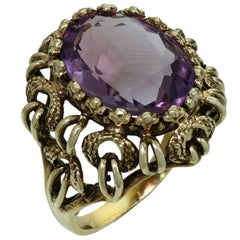 Natural Amethyst Yellow Gold Cocktail Ring