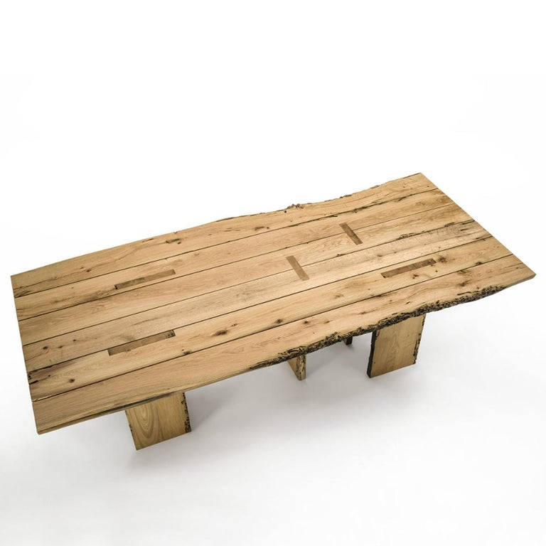 Italian Natural and Burnt Oak Raw Dining Table For Sale
