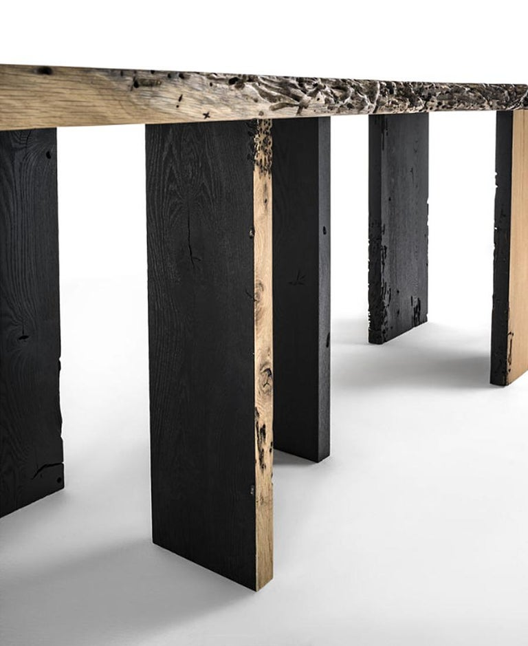 Contemporary Natural and Burnt Oak Raw Dining Table For Sale