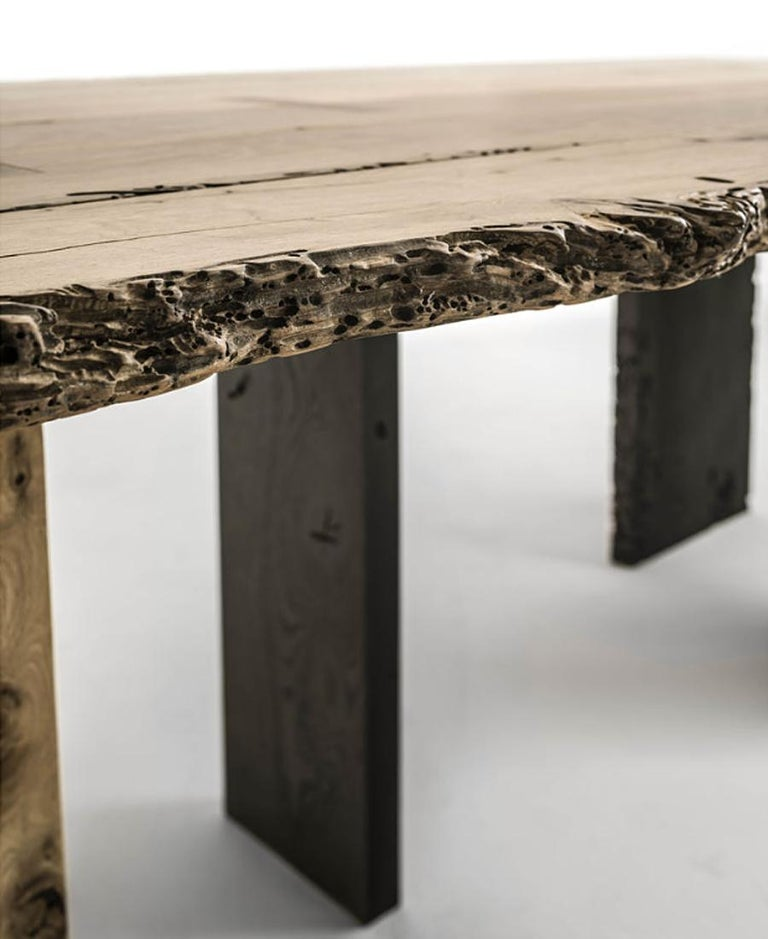 Natural and Burnt Oak Raw Dining Table For Sale 1