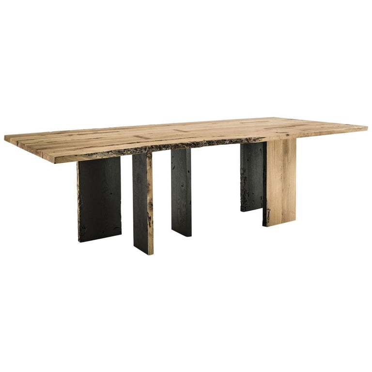 Natural And Burnt Oak Raw Dining Table
