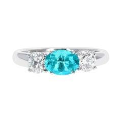 Natural and Certified Brazilian Paraiba Tourmaline and Diamond Three-Stone Ring