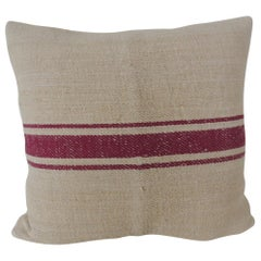 Natural and Purple Stripe Woven Decorative Pillow