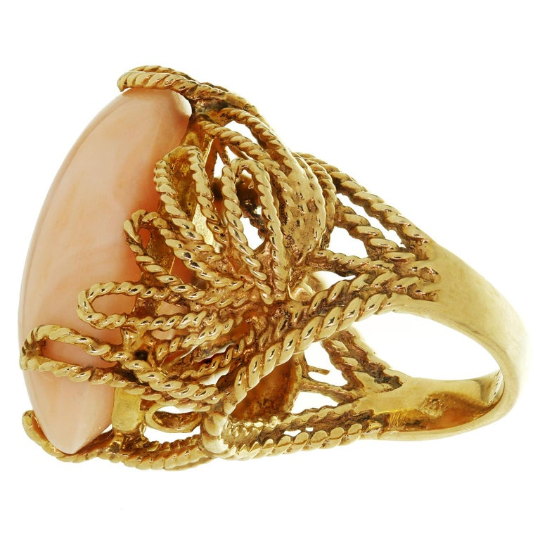 Women's Natural Angel Skin Coral Yellow Gold Handmade Ring For Sale