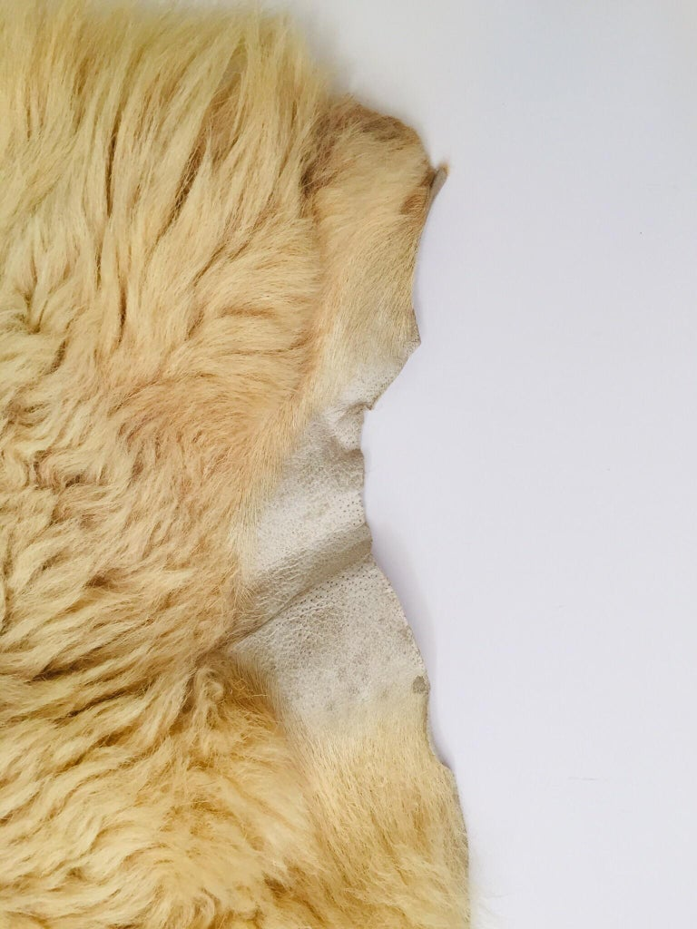 French Natural Angora Plush Sheepskin Accent Rug