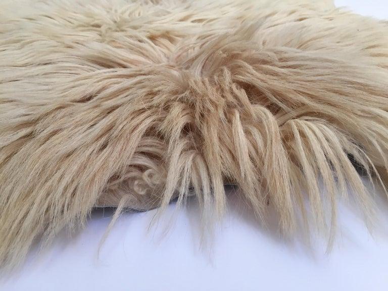 Hand-Crafted Natural Angora Plush Sheepskin Accent Rug