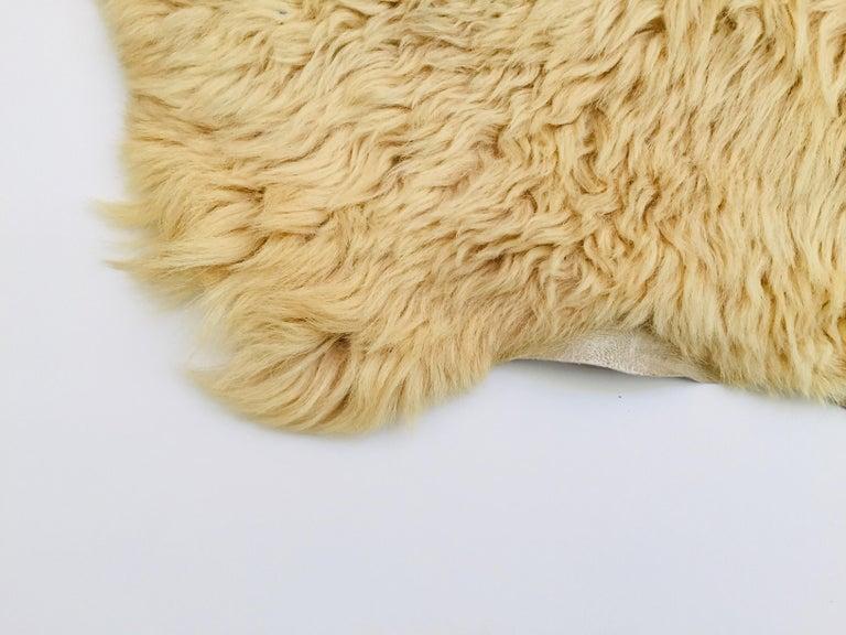 20th Century Natural Angora Plush Sheepskin Accent Rug