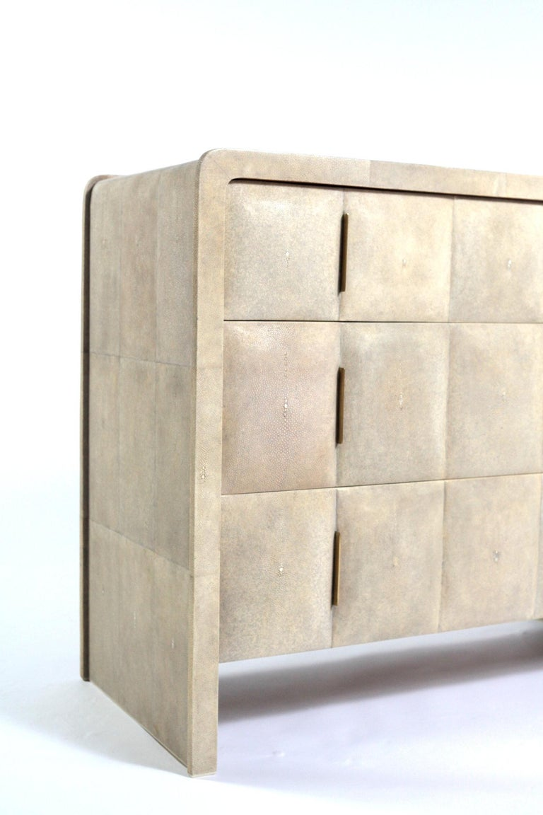 French Natural Antique Shagreen Chest of Drawers For Sale