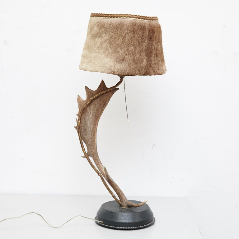 Natural antler deer horn table lamp
