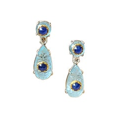 Natural Aquamarine and Burma Blue Sapphire Earrings Set in 18 Karat Gold