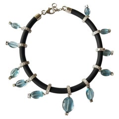 Natural Aquamarine and Diamond Bracelet Set in 18 Karat Gold