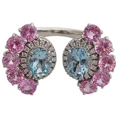 Natural Aquamarine and Pink Sapphire Ring Set in 18 Karat Gold with Diamonds