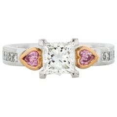 Natural Argyle Certified Pink and White Diamond Princess Cut & Heart Shaped Ring