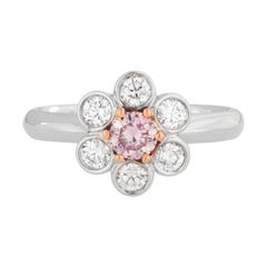 Natural Argyle Pink and White Diamond Floral Cluster Engagement Ring