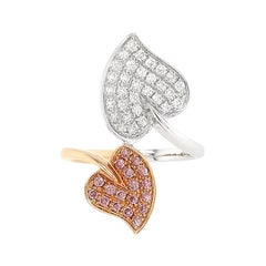 Natural Argyle Pink Diamond and White Diamond in 18K Cocktail Ring
