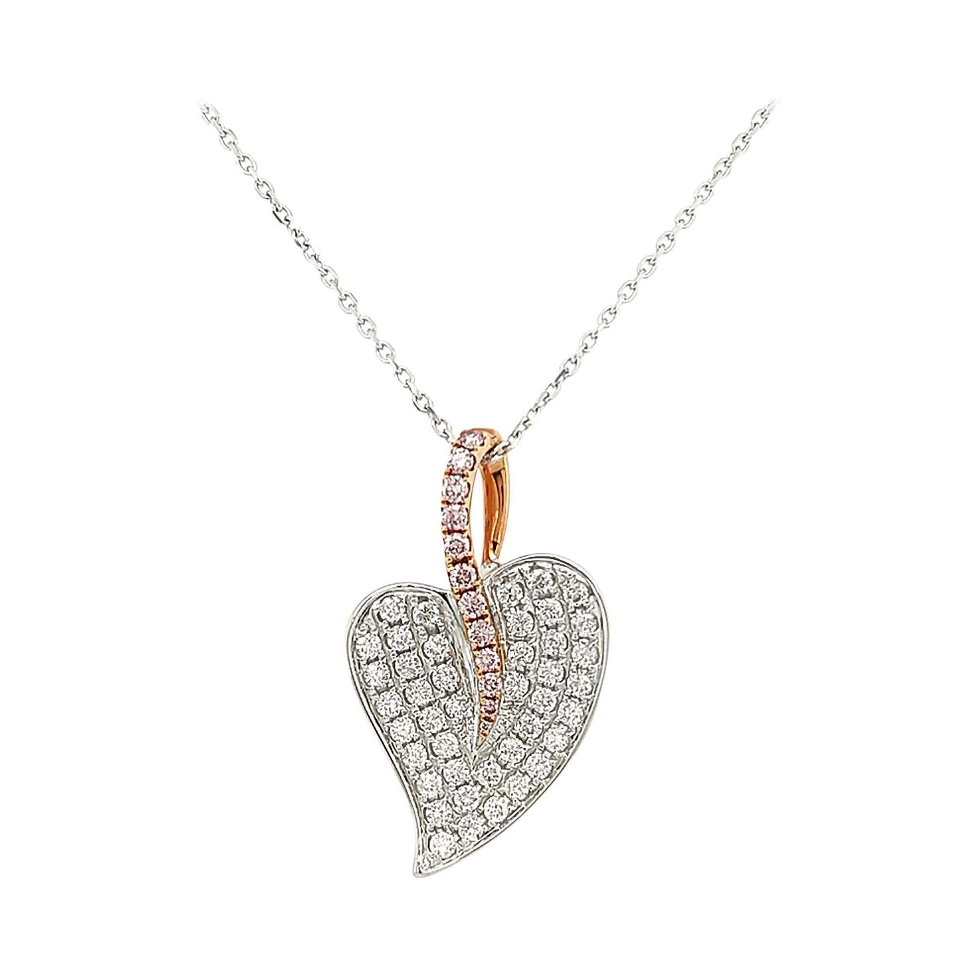 Natural Argyle Pink Diamond and White Diamond in K18 Gold Pendant with Chain