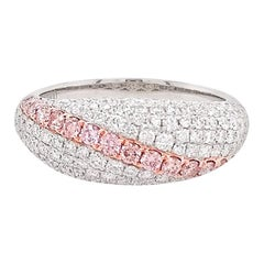Natural Argyle Pink Diamond and White Diamond in Platinum Band Ring