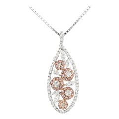 Natural Argyle Pink Diamond and White Diamond in Platinum Pendant with Chain