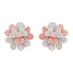 Natural Argyle Pink Diamond and White Pink Diamond in Platinum Stud Earrings