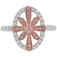 Natural Argyle Pink Diamond in Platinum 18 Karat Pink Gold Cocktail Ring
