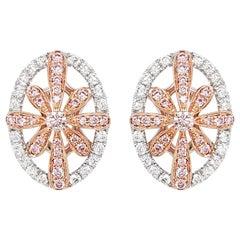 Natural Argyle Pink Diamond in Platinum 18 Karat Pink Gold Earrings