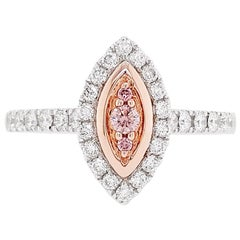 Natural Argyle Pink Diamond in Platinum and 18 Karat Pink Gold Engagement Ring