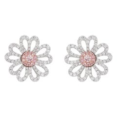 Natural Argyle Pink Diamond in Platinum 18 Karat White and Pink Gold Earrings